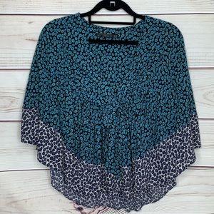 Zara Trafaluc Blue Floral Butterfly Sleeve Top